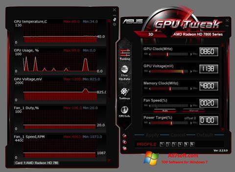Ảnh chụp màn hình ASUS GPU Tweak cho Windows 7