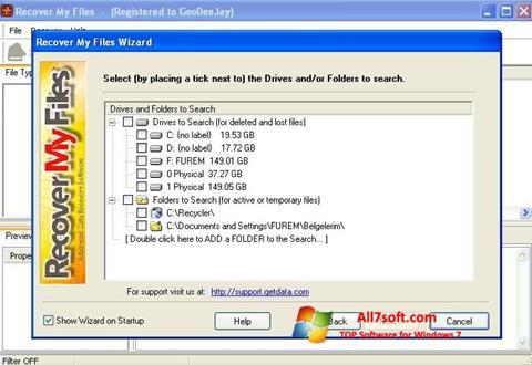 Ảnh chụp màn hình Recover My Files cho Windows 7