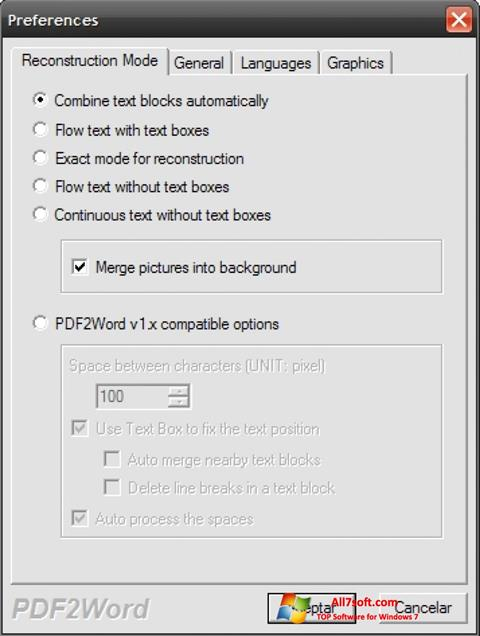 Ảnh chụp màn hình PDF2Word cho Windows 7