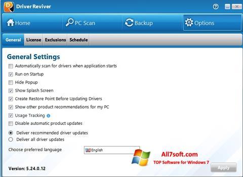Ảnh chụp màn hình Driver Reviver cho Windows 7