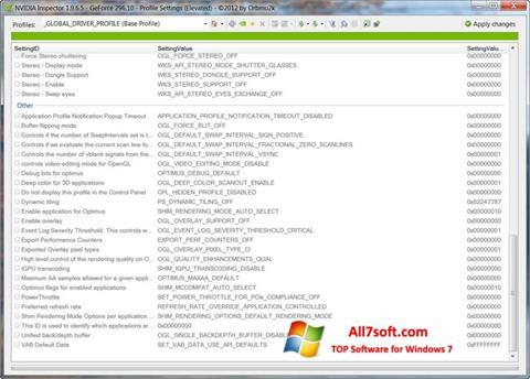 Ảnh chụp màn hình NVIDIA Inspector cho Windows 7