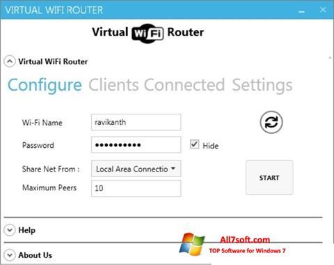 Ảnh chụp màn hình Virtual WiFi Router cho Windows 7