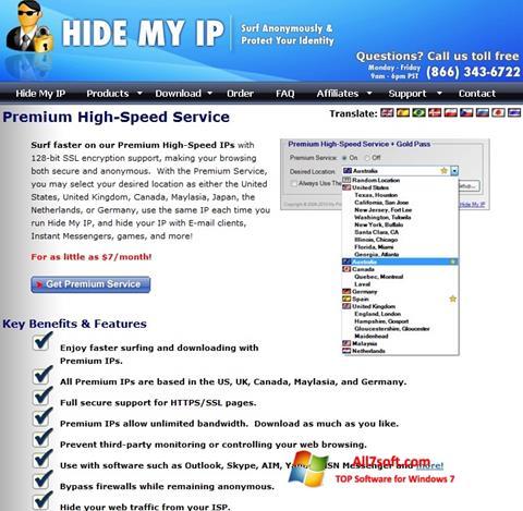 Ảnh chụp màn hình Hide My IP cho Windows 7