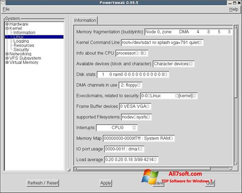 Ảnh chụp màn hình PowerTweak cho Windows 7