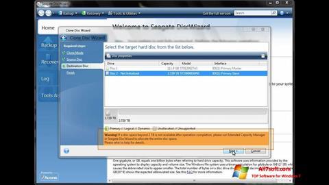 Ảnh chụp màn hình Seagate DiscWizard cho Windows 7