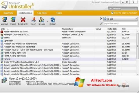 Ảnh chụp màn hình Ashampoo UnInstaller cho Windows 7