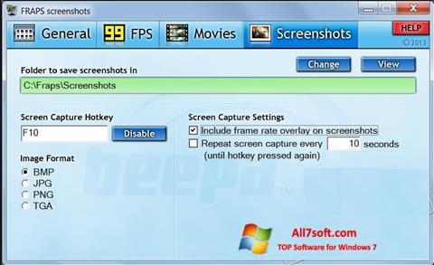 Ảnh chụp màn hình Fraps cho Windows 7