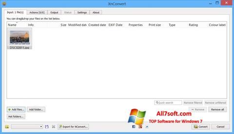 Ảnh chụp màn hình XnConvert cho Windows 7
