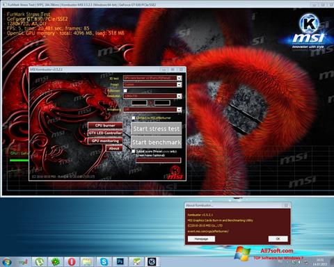Ảnh chụp màn hình MSI Kombustor cho Windows 7