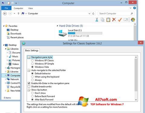 Ảnh chụp màn hình Classic Shell cho Windows 7