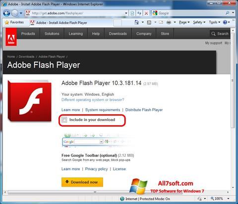 Ảnh chụp màn hình Adobe Flash Player cho Windows 7