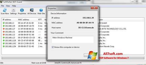 Ảnh chụp màn hình SoftPerfect WiFi Guard cho Windows 7