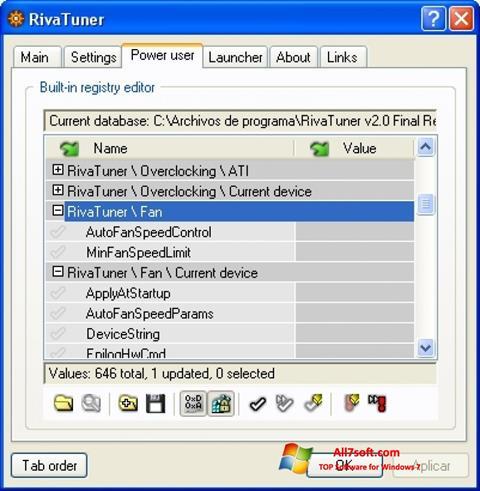 Ảnh chụp màn hình RivaTuner cho Windows 7
