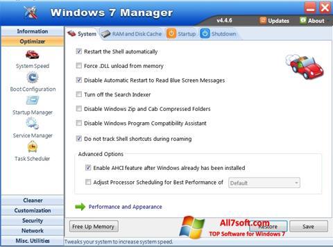 Ảnh chụp màn hình Windows 7 Manager cho Windows 7