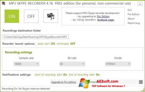 Ảnh chụp màn hình MP3 Skype Recorder cho Windows 7