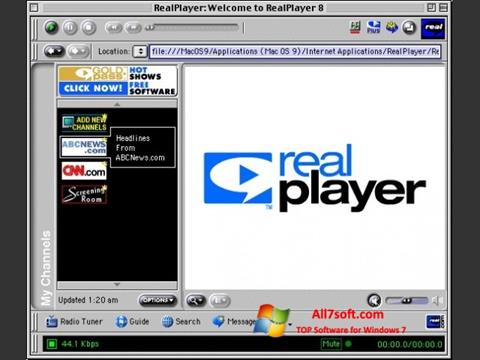 Ảnh chụp màn hình RealPlayer cho Windows 7