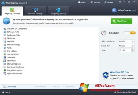 Ảnh chụp màn hình Wise Registry Cleaner cho Windows 7