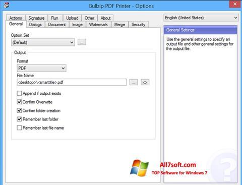 Ảnh chụp màn hình BullZip PDF Printer cho Windows 7