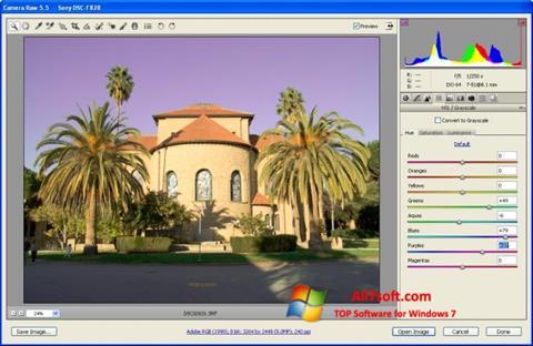 Ảnh chụp màn hình Adobe Camera Raw cho Windows 7