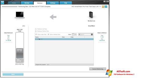 Ảnh chụp màn hình WD SmartWare cho Windows 7