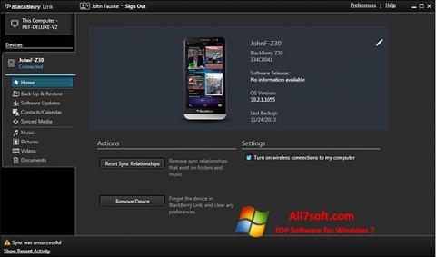 Ảnh chụp màn hình BlackBerry Link cho Windows 7
