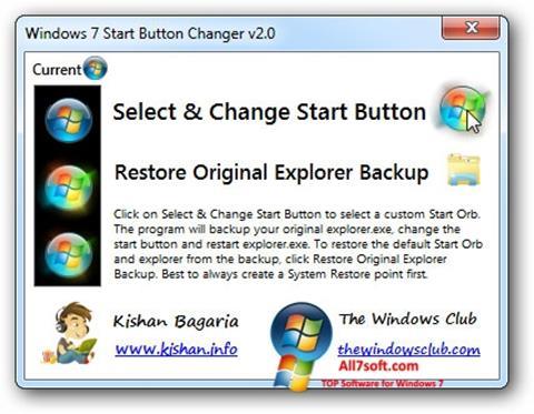Ảnh chụp màn hình Windows 7 Start Button Changer cho Windows 7